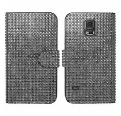 For Samsung Galaxy S5 - Horizontal SOFT GEL Diamond Flap Pouch w Credit Card Pockets - Black FHPPD Case Cover Protector