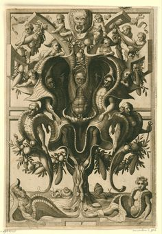 Figures trapped in a shell-like ornament with a man and woman also clamped in shells (1556), designer Cornelis Floris II, engraver Johannes or Lucas van Doetecum, publisher Hieronymus Cock 16th-Century Ornament Prints | The Public Domain Review