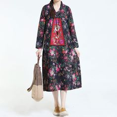 Autumn Retro Cotton Linen Embroidery Loose Long Sleeve Black Dress