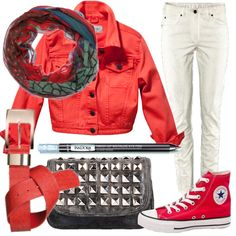 red and white denim