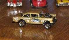 Hot Wheels 1955 Chevy Bel Air Old School Drag Gasser Gold