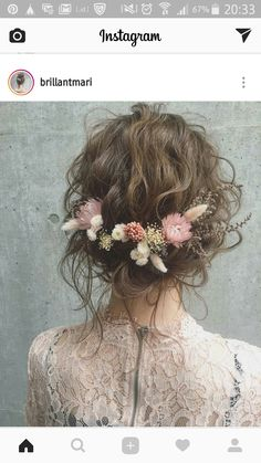 Preserved winter flowers and a wavy top, beautiful. - New site - wedding - Boho wedding hair inspiration. Preserved winter flowers and a wavy top beautiful. New site - Boho Wedding Hair, Wedding Hair And Makeup, Wedding Flower Hair, Trendy Wedding, Wedding Nails, Dress Wedding, Wedding Shoes, Wedding Bouquets, Bridal Flowers