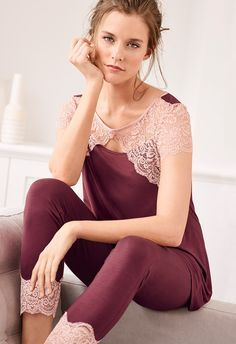 Dress beautifully at bedtime in this pajama set with a lacy short-sleeved top and matching ankle-length pants. Cute Sleepwear, Cotton Sleepwear, Satin Pajamas, Sleepwear Women, Lingerie Sleepwear, Nightwear, Pyjamas, Pijamas Women, Pretty Lingerie