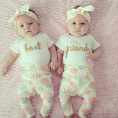 Baby Twins TWO Short Sleeve Best Friends onesies by OliveandBirdie on Etsy Twin Girls, Twin Babies, Little Babies, Twin Girl Names, Cute Twins, Cute Babies, Best Friend Onesies, How To Have Twins, Everything Baby