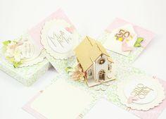 Geldgeschenke - Geldgeschenk Box zur Hochzeit, Exploding box rosa - ein Designerstück von Lapka-Scrapka bei DaWanda