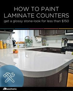 Can U Paint Laminate Countertops - Can U Paint Laminate Countertops, How to Paint Laminate Kitchen Countertops Outdoor Kitchen Countertops, New Countertops, Kitchen Countertop Materials, Kitchen Cabinets, Kitchen Counters, Countertop Options, Cement Counter, Wooden Counter, Oak Cabinets