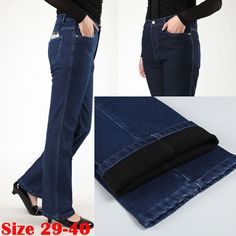 Plus Size 29-40 Thickening Plus Velvet Denim Jeans Mother Thermal Warm Pants Quinquagenarian Long Straight Trousers for Women 38