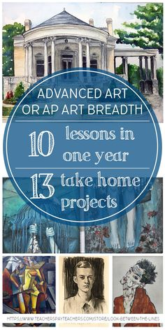 This advanced art or AP art breadth curriculum includes 10 art lessons that creates 13 take home projects. It focuses on drawing and painting in high school art and includes PowerPoints, lesson plans, handouts, and more. Don't plan a thing for an entire year (or semester for AP Art). #arteducation #apart #art #tpt #curriculum #lesson