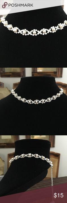 """Beautiful """"Rhinestone and Pearl"""" Necklace Beautiful necklace for any formal occasion! Never worn. My loss is your happy gain!! Purchased at Macy's..... Bundle and save! Jewelry Necklaces"""