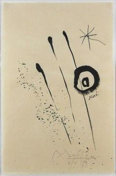 Joan Miro Ink Drawing On Handmade Paper : Lot 24