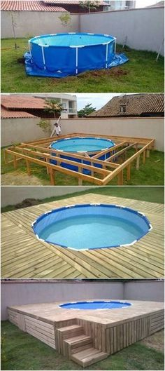 Above Ground Pool Ideas - In the summer, people like spending few hours in the swimming pool. However, you may hate the way your above ground pool looks in your backyard. Above Ground Pool Decks, Above Ground Swimming Pools, In Ground Pools, Square Above Ground Pool, Above Ground Pool Landscaping, Building A Floating Deck, Building A Deck, Building Ideas, Backyard Projects