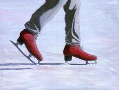 """The Red Ice Skates"" #winterart #iceskates #iceskating #karynrobinson Winter Art, Summer Winter, Dry Heat, Ice Skaters, Art For Sale, Arizona, Oxford Shoes, Cool Stuff, Hot"
