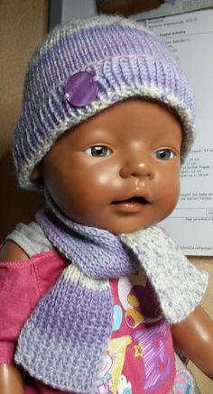 Puppenkleidung - Mütze mit Schal flieder - ein Designerstück von by_Masha bei DaWanda