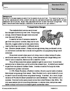 Common Core Grade 4: Text Structure RI.4.5 Practice | Text ...