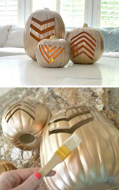 Make Gold Geometric Pumpkins for Fall | 35 DIY Fall Decorating Ideas for the Home | Fall Craft Ideas for Adults