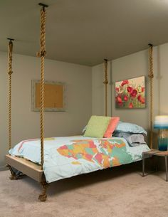 Interesting hanging bed for the bedroom!