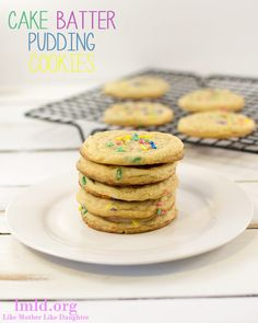 These cake batter pudding cookies are easy to make and they are the perfect soft, moist and flavorful cookie.