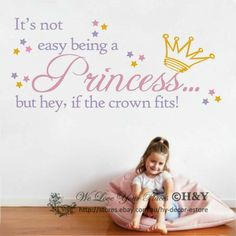~Being a princess~ Wall Art Quote Vinyl Decal Sticker Kids Room Nursery Decor Nursery Wall Stickers, Removable Wall Stickers, Kids Stickers, Wall Decal Sticker, Vinyl Decals, Nursery Room Decor, Nursery Wall Art, Princess Wall Art, Princess Quotes