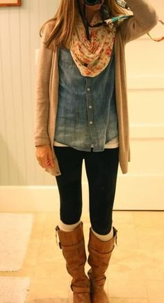 Fall fashion with denim shirt, leggings floral scarf and long booties
