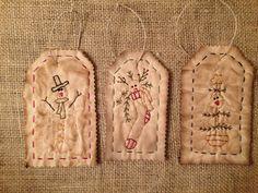 Primitive Stitchery Christmas Snowman Tag Ornaments Ornie Set