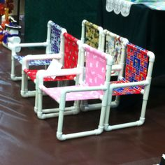 DIY:: Fun chairs to make for kids - let them each choose their own fabric! Paint Spray paint PVC and let kids pick out color Pvc Pipe Projects, Projects For Kids, Diy For Kids, Crafts For Kids, Diy Projects, Classroom Projects, Doll Crafts, Fun Crafts, Pvc Chair