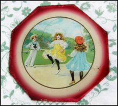 Sweet Victorian kitsch... Victorian Underglass Painting 19thC 'Chocolate Box' by keepsies, £14.00