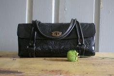 Vintage 1940s Black Tooled Leather Purse Bag by SassySisterVintage
