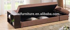 Tejido multifuncional sofá cama, living room sofa, madera armazon de sofa cama con almacenaje