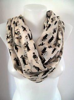 Charlie Chaplin Patterned Infinity scarf  Loop by TrendyTextile,