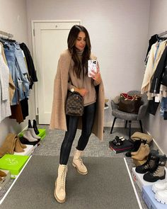 Fashion blogger mia mia mine wearing tan combat boots by sam edelman with faux leather leggings and a camel coatigan. #combatboots #falloutfit #ootd Casual Outfits, Cute Outfits, Boot Outfits, Winter Outfits, Beige Outfit, Spanx Faux Leather Leggings, Athleisure Outfits, Nordstrom Anniversary Sale, Outfit Combinations