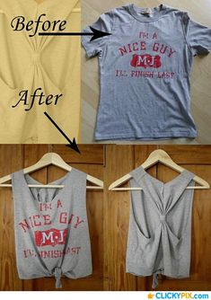 13 DIY Clothing Refashion Ideas with Picture Instructions (Diy Ropa Camisetas) Diy Clothes Hacks, Diy Clothes Refashion, Diy Clothes Videos, Clothing Hacks, Diy Hacks, Shirt Refashion, Clothing Apparel, Clothing Ideas, Refashioned Clothes