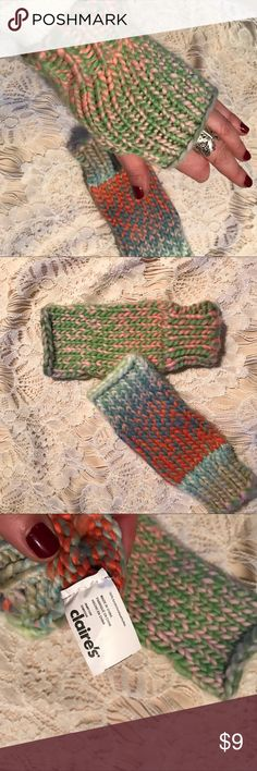 Cute Claire's knit open fingers knit gloves Sooo cute! Will fit smaller thin hands. They are suppose to not match and look handmade.  Pretty ombré Easter colors. Gently used maybe twice. Claire's Accessories Gloves & Mittens