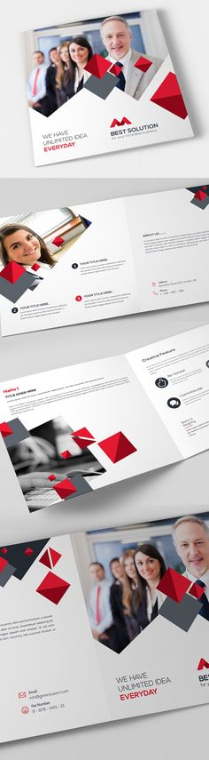 Professional, clean and modern Business Brochure Templates ready to use print ready designs. These brochure templates can save your time and money in creating a Free Brochure, Bi Fold Brochure, Creative Brochure, Business Brochure, Brochure Template, Corporate Brochure, Graphic Design Brochure, Graphic Design Fonts, Templates Free