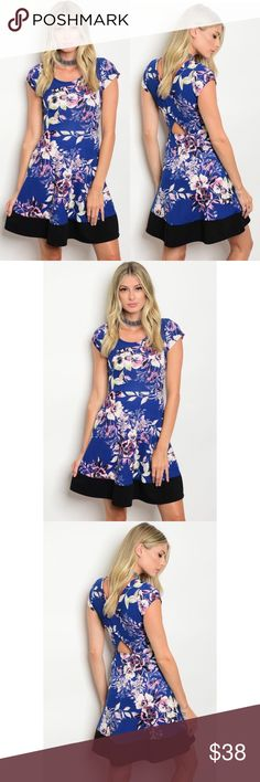 Royal Blue Dress with Floral Print PreOrder ❣️Royal Blue Dress with Floral Print. No trades. Price is firm unless bundled. Glamvault Dresses