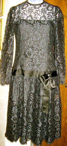 vtg 70s black lace drop waist cocktail party by ChloeandNatalieVtg, $59.00