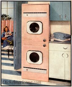 Westinghouse pink stacked washing machine and dryer (1956) - adore! #vintage #appliances #1950s #home