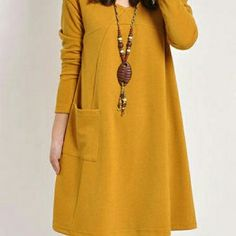 Delightful Round Neck Cotton Loose Fitting Dress Delightful Round Neck Cotton Loose Fitting Shift-Dress Dresses Long Sleeve