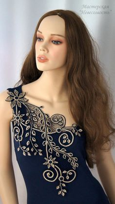 Fabulous Crochet a Little Black Crochet Dress Ideas. Georgeous Crochet a Little Black Crochet Dress Ideas. Freeform Crochet, Irish Crochet, Crochet Lace, Hand Embroidery Design Patterns, Silk Ribbon Embroidery, Lace Applique, Irish Lace, Crochet Blouse, Crochet Clothes