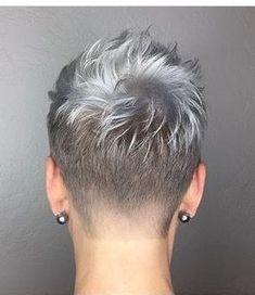 New Hair Cut new haircut colour Short Grey Hair, Very Short Hair, Short Hair Cuts For Women, Short Hair Styles, Super Short Hair Cuts, Grey Pixie Hair, Super Short Pixie, Short Cuts, Short Pixie Haircuts
