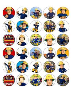 - 30 X Fireman Sam Edible Wafer Paper Cup Cake Cupcake Toppers & Garden Fireman Sam Birthday Cake, Fireman Sam Cake, Fireman Party, 3 Year Old Birthday Party, Baby First Birthday, Godchild, Bottle Cap Images, Cupcake Toppers, Firefighter