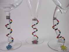 Unique Colorful Beaded Spiral Wine Glass Charms - set of 8