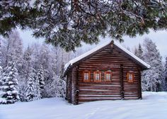Old Mountain log Cabins in Snow | Old log cabin - lovely, cabin, calm, nice, beautiful, cold, trees ...