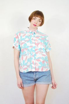 vintage 1980s / tropical print / over size / coral and teal / cotton blouse / size M on Etsy, $20.21 AUD