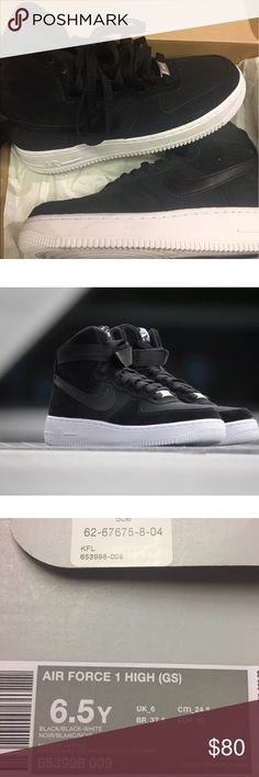 BRAND NEW NIKE AIR FORCE 1 HIGH, BLACK GS SIZE 100% Authentic & BRAND NEW!!  NIKE AIR FORCE 1 HIGH '07  BLACK/BLACK-WHITE  SUEDE-CANVAS MIXED UPPER  Size: Grade School-6.5   DEADSTOCK and BRAND NEW WITH ORIGINAL BOX.   SHIPMENTS ARE DOUBLE BOXED.  I'M A SHOE COLLECTOR MYSELF, I HATE FAKES.  ALL MY ITEMS ARE GUARANTEED 100% AUTHENTIC!   DISCLAIMER:  ALL ITEMS ARE 100% AUTHENTIC. PICTURES TAKEN FROM THE EXACT ITEM YOU WILL BE RECEIVING. Nike Shoes Sneakers