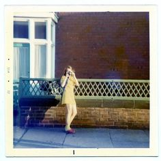 1972 Vintage square color  Photo Teenage Girl Camera Duel  photographer