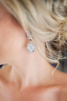 chandelier earrings + loose updo | Marissa Joy #wedding...oh love these! Beautiful