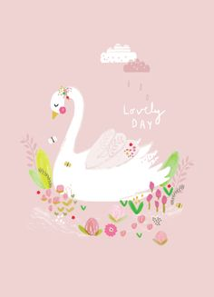 adorable swan poster printed on 250 gram FSC biotop environmentally friendly inkt 21 x cm wrapped with cardboard and transparant bag Aless Baylis for Petite Louise A4 Poster, Art Pictures, Photos, Baby Art, Kids Prints, Cute Images, Pretty Art, Cute Illustration, Cute Drawings