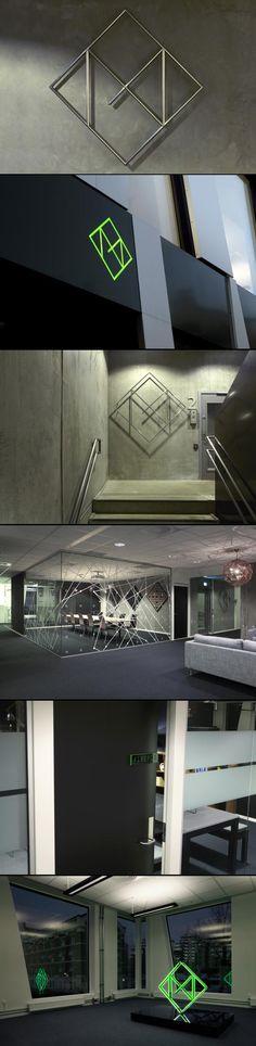 Elementos que remetem à marca: adesivagem e luminária seguindo por um estilo geométrico   http://www.workinprogress.no signage
