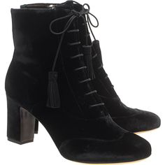 TABITHA SIMMONS Afton Velvet Black // Velvet lace up booties (€219) ❤ liked on Polyvore featuring shoes, boots, ankle booties, ankle boots, black boots, schuhe, lace up ankle boots, black ankle bootie, short black boots and lace up booties