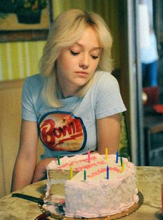 Dakota Fanning as Cherie Currie - it's her birthday and she'll look a bit bored if she wants to #runaways #cheriecurrie